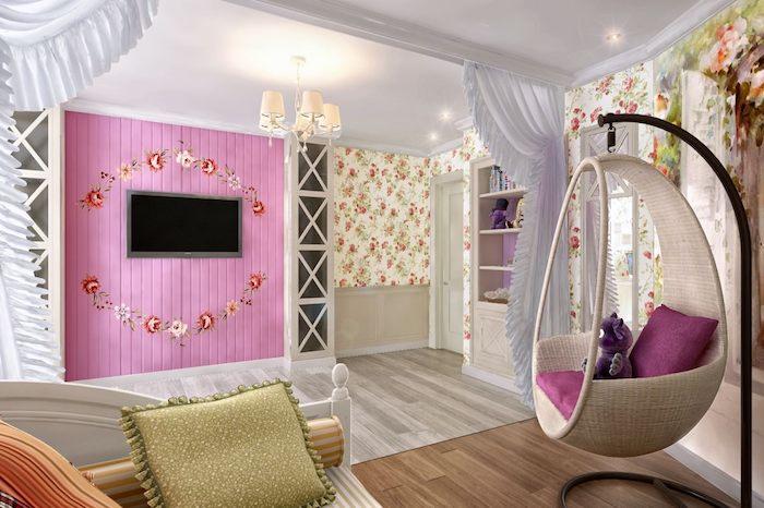 jugendzimmer einrichten kreatives und modernes design rosa fernsehwand idee hängestuhl schbby deko prinzessinnen vorhänge raumteiler