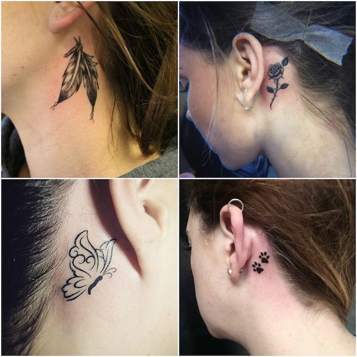 vier bilder mit jungen frauen mit kleinen schwarzen tattoos mit federn, schmetterlingen und einer kleinen schwarzen rose