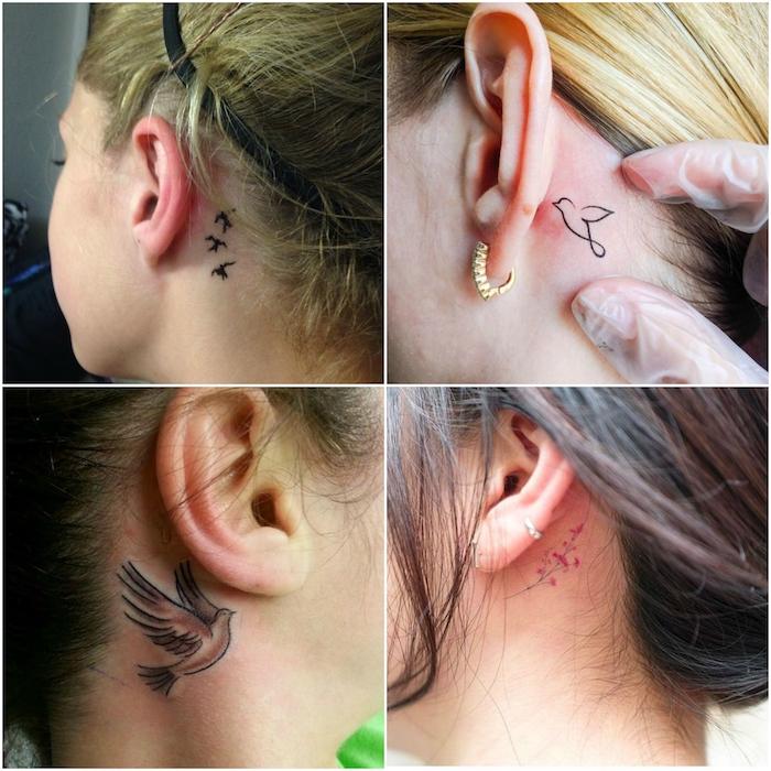 tattoo hinterm ohr - vier junge frauen mit kleinen schwarzen tattoos mit fliegenden schwarzen kleinen vögeln und . kleinen pinken blumen - tattoo hinterm ohr