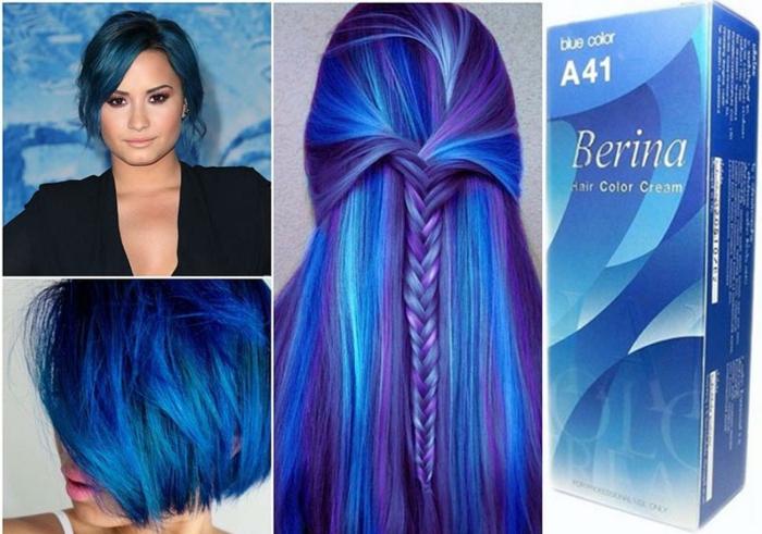 Fotocollage aus vier Bildern - blaue Haare, Frisuren für unterschiedlich lange Haare, blauses Haar mit Fischgräte-Zopf aus lila und weißen Strähnen, mittellanger Bob