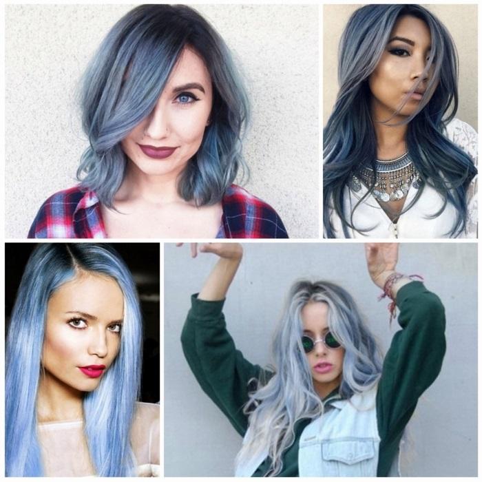 blaue haare variationen, make-up für blaue augen, grau-blaue haare