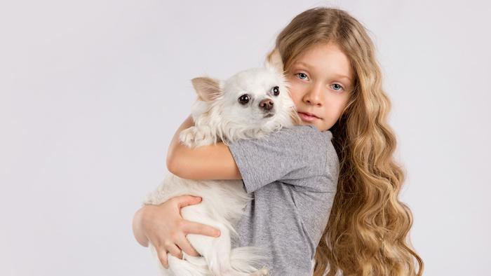dunkelblonde Haare - ein Mädchen mit lockigen blonden Haaren trägt ein weißer Hund