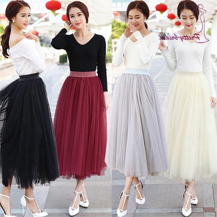 boho style ideen für tutu rock in verschiedenen farben tutu tragen mode trends 2018 weiße absatzschuhe