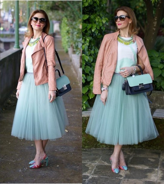 boho style ideen mintgrün oder blau absatzschuhe bequem für die stadt rosa jacke brille dame