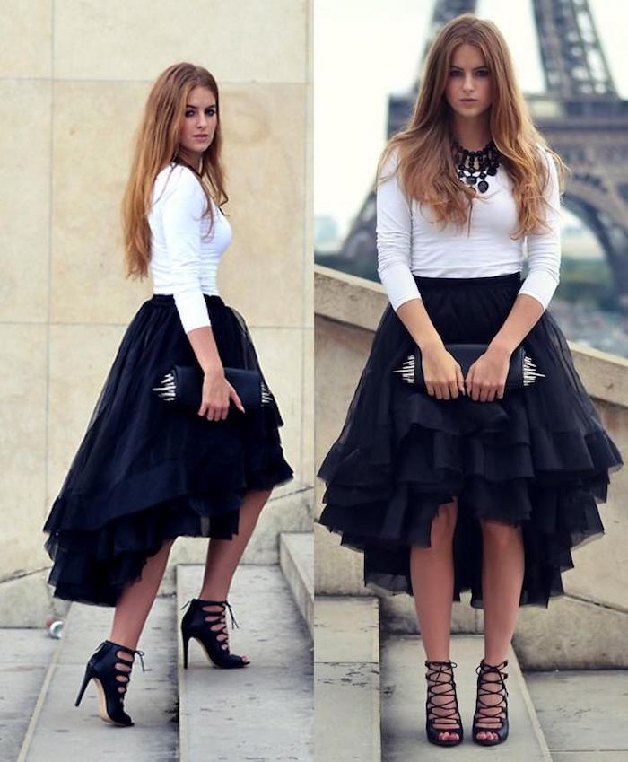 tutu rock schwarz weißes outfit halskette in schwarzer farbe schöne schuhe sandalen ein trendy look in paris tragen