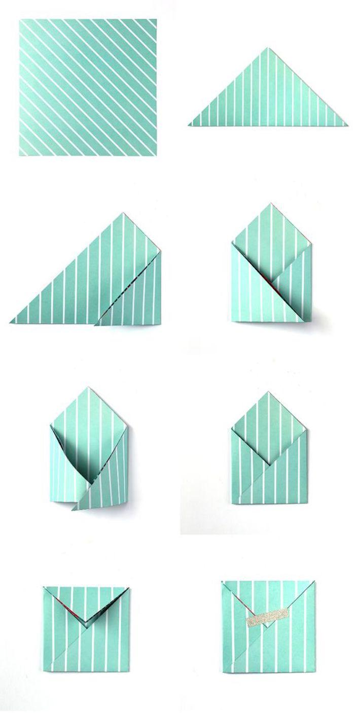grüne Umschläge selber falten - Briefumschlag basteln eine ausführliche Faltanleitung