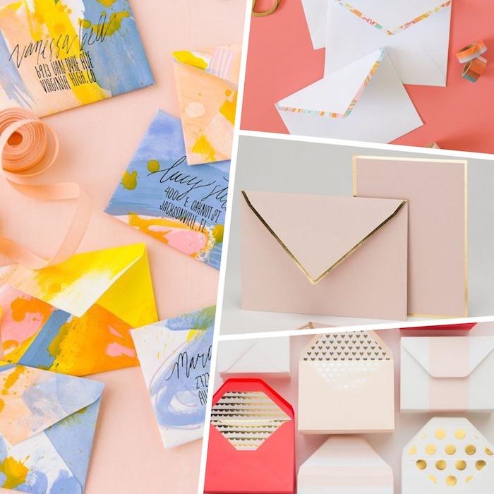 Briefkuvert bunte Vorschläge mit Ölfarben gefärbt, ein Collage aus einigen Vorschlägen