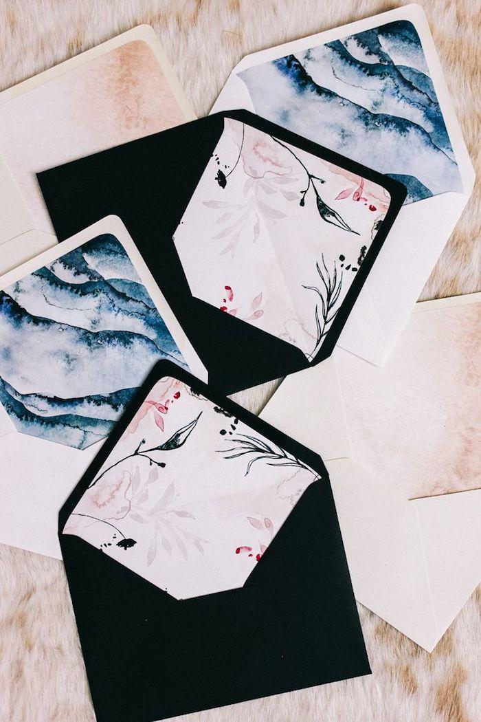 Briefumschlag basteln - schwarze und weiße Briefumschlag mit schöneren inneren Teilen