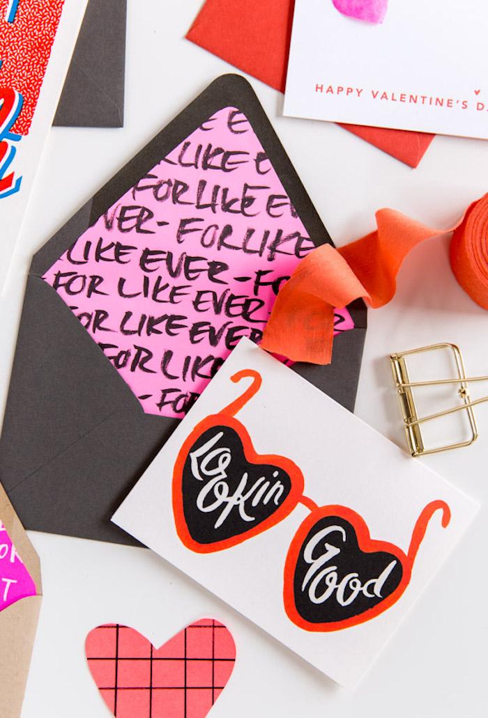 Briefumschlag falten - Karten für Valentinstag mit einer Brille mit Gläser wie Herzen