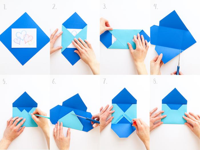 Umschlag falten - eine ausführliche Faltanleitung für einen blauen Umschlag