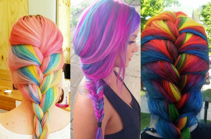 Fotocollage aus drei Bildern - wunderschöne Frisuren für lange Haare, gefärbt in vielen verschiedenen Farben, französischer Zopf - rosa Haare mit blauen und gelben Strähnen, Fischgrätezopfopf - Haare mit dicken pinken und blauen Strähnen, französischer Zopf für Regenbogen-Haare