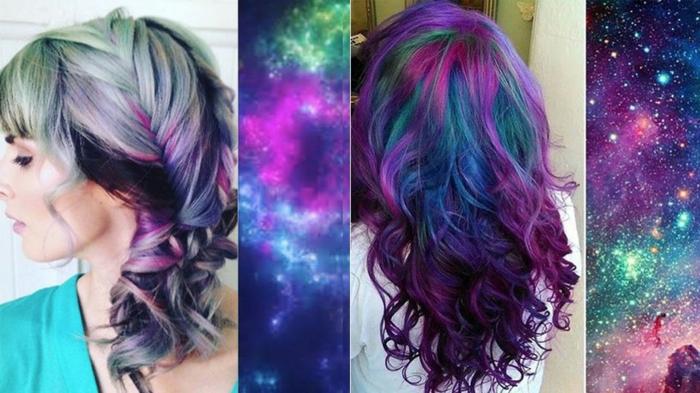 Galaxy Hair ist der neue Trend, Haare in den Farben des Weltalls, Aschenblond mit grünen Reflexen, dunkellila und blaue Längen, Tapetem mit Weltall-Muster, dunkel gefärbte Haare in den Galaxy-Farben, Tapeten mit Weltall-Print