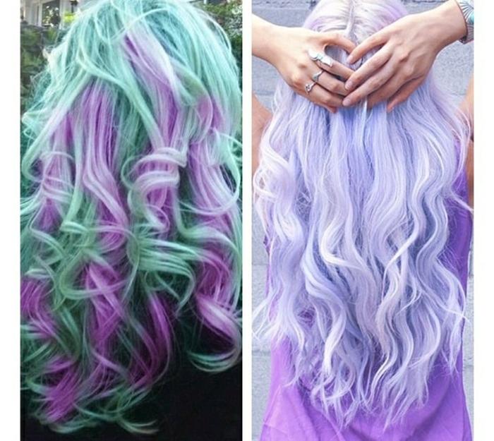 grüne Haare mit lila Strähnen, Haare mit großen Locken, hellila Haare mit weißen Reflexen und gewellten Spitzen, Frau mit ihren Händen hinten am Kopf und einen Ring auf jedem Finger