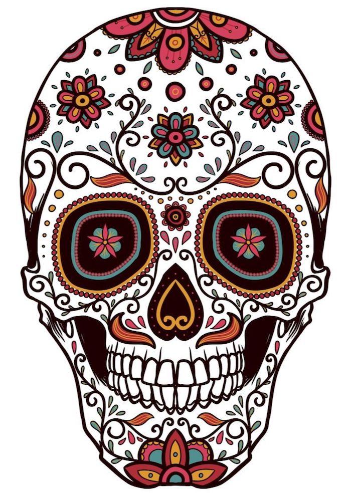 buntes tattoo totenkopf vorlage mit blumen mexikanisches totenfest sugar skull bedeutung