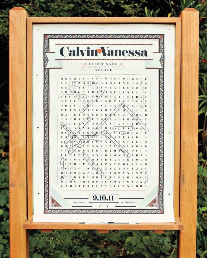Coole Idee für Hochzeitsgästebuch, lustiges Wörterspiel für alle Hochzeitsgäste, nach Wörtern suchen