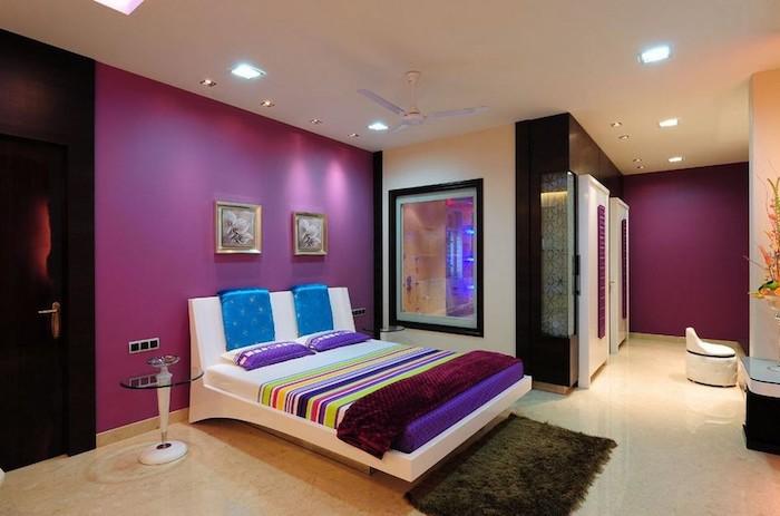 jugendzimmer ideen einfach und dezent lila wandgestaltung deko ideen doppelbett bequem und eine transparente wand