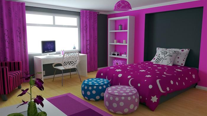 jugendzimmer ideen in blau lila wandtapeten lila vorhänge ideen frische violette blume