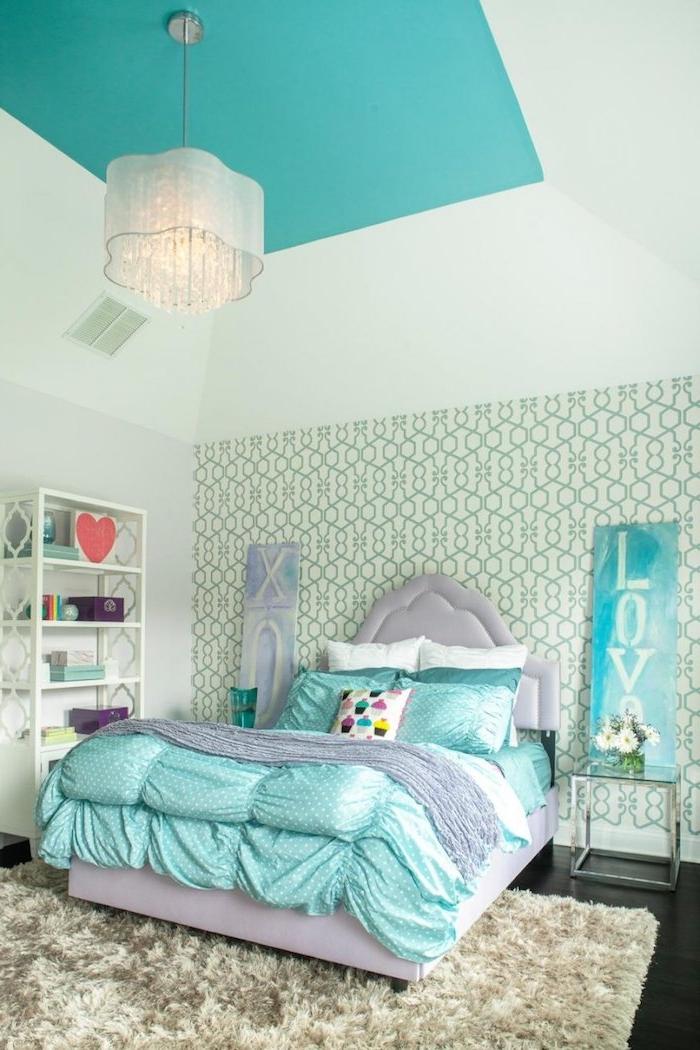 Jugendzimmer Mädchen in blau und grau warum nicht schöne ideen kreative teenager zimmer ideen herz im regal