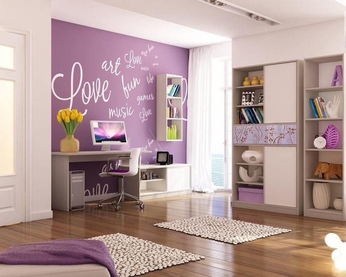 jugendzimmermöbel ideen in weiß lila frische gelbe tulpen aufschriften auf der wand liebe lachen musik
