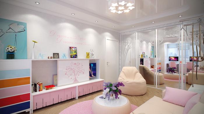 jugendzimmermöbel sessel teppich tisch dekorationen darauf lila blumen schrank sofa sessel