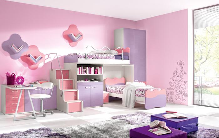 Jugendzimmer Mädchen rosa und lila zimmergestaltung treppe zum bett dienen als schubladen kreativ und funktional einrichten einrichtung mäbel kinderzimmer