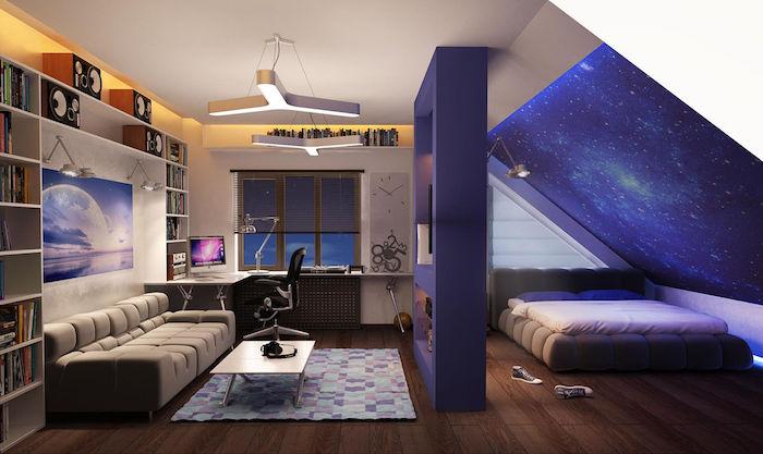 kinderzimmer komplett dachschräge kosmos design idee raumteiler trennt das zimmer in zwei teilen erholungs und schlafecke und ein spiel und lerneraum