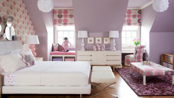 mädchen jugendzimmer doppelbett dezentes design ideen lila und weiß oder gelb kombinieren