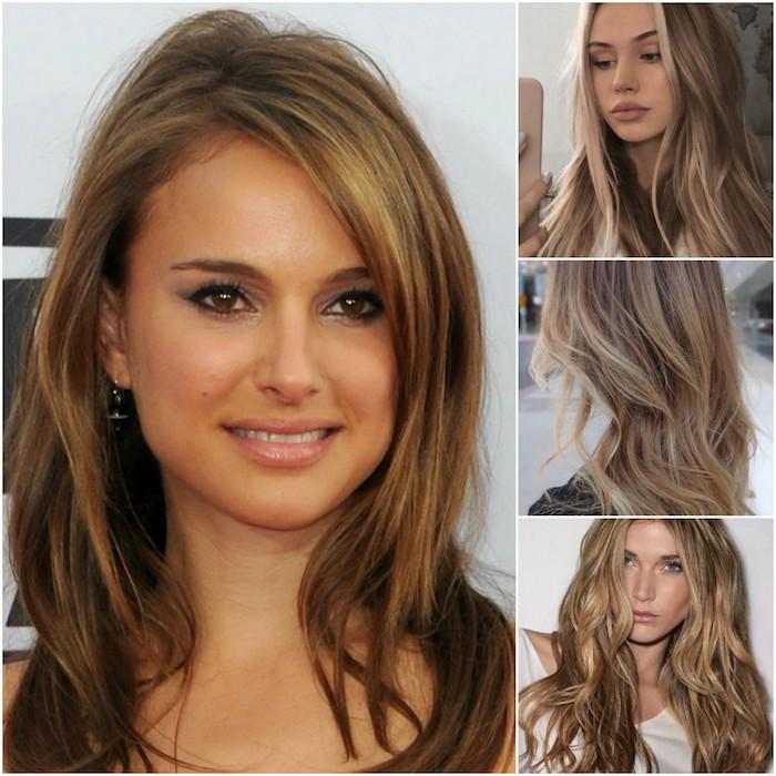 Schöne Haarfarbe vier Beispiele für dunkelblonden Frauen, die ganz niedlich aussehen