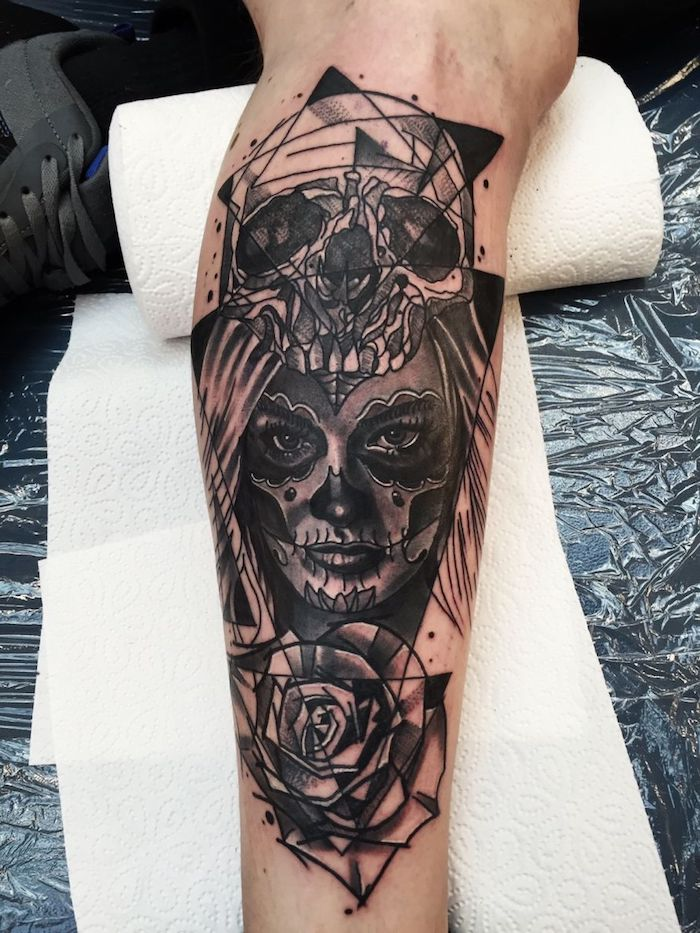 tattoo arm frau totenkopf japanischer totenkopf und. Black Bedroom Furniture Sets. Home Design Ideas