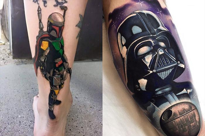 tattoo star wars - ein bein mit einem tattoo mit einem schwarzen darth vader und einem violetten himmel mit sternen