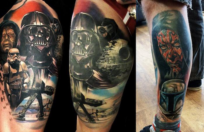 beine mit star wars tattoos mit darth vader, weißen klonen, raumschiffen aus metall und einem roten monster mit gelben augen