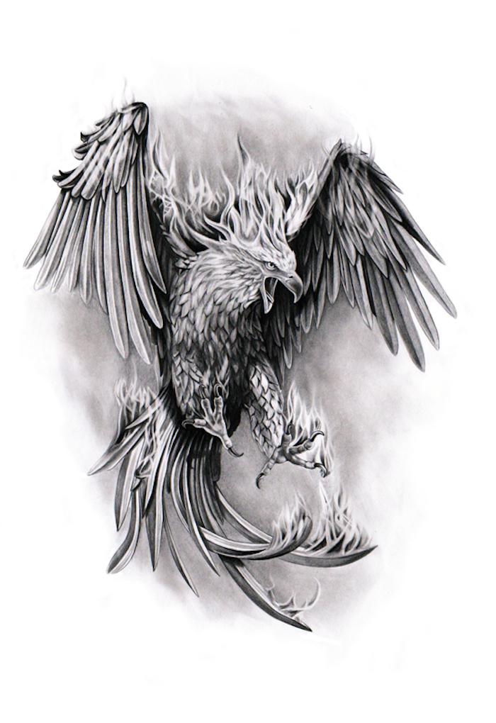phönix tattoo bedeutung - ein grauer fliegender phönix mit zwei flügeln mit langen grauen und schwarzen federn - ein brennender phönix