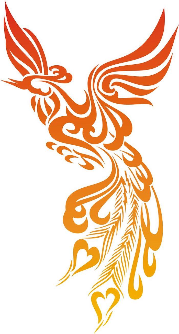 phönix tattoo bedeutung - ein fliegender phönix mit zwei flügeln mit orangen, roten und gelben federn - phönix aus der asche tattoo