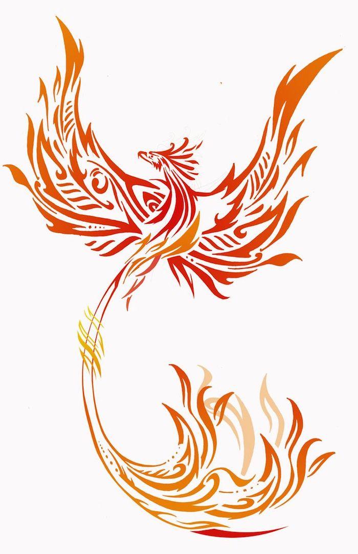 ein großer roter brennender phönix mit zwei brennenden flügeln mit orangen und roten brennenden federn - idee für einen phönix tätowierung