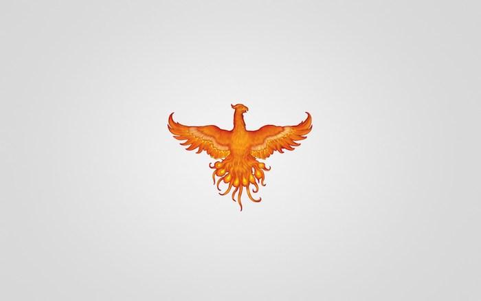 idee für einen kleinen orangen tattoo mit einem fliegenden orangen brennenden phönix mit zwei orangen flügeln mit roten und gelben federn