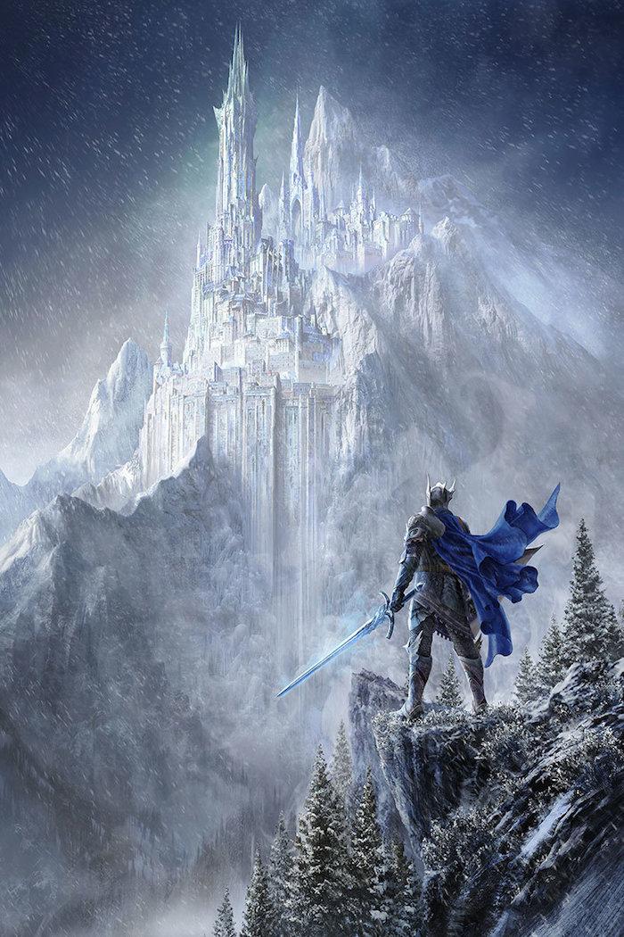 großes weißes schloss mit weißen türmen - winterberge, wald mit bäumen und schneeflocken, ein mann mit einem blauen schwert