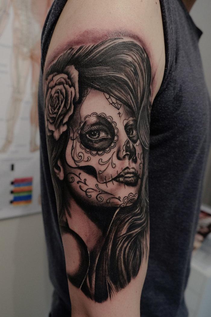 Mexikanische totenmaske tattoo