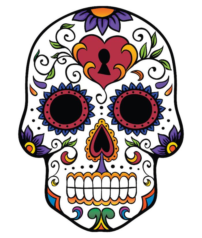 weißer totenkopf mit violetten blumen und grünen blättern und einem roten herzen - mexikanischer totenkopf tattoo, bunter totenkopf