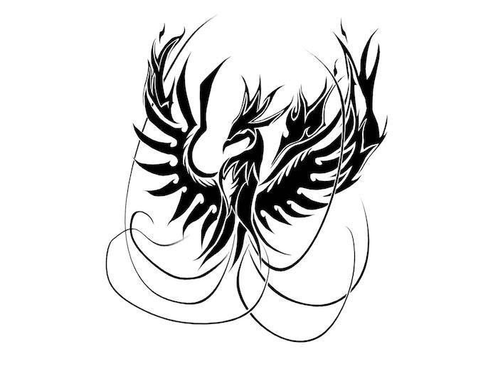 eine schwarze tätowierung mit einem großen fliegenden schwarzen phönix mit zwei schwarzen flügeln mit schwarzen federn