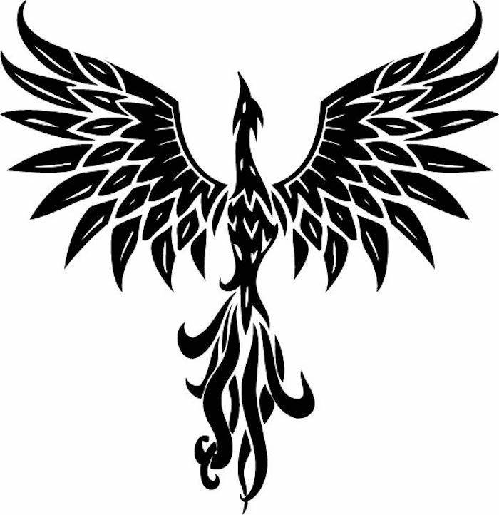 fliegender schwarzer phönix mit zwei schwarzen flügeln mit schwarzen federn und blauen augen