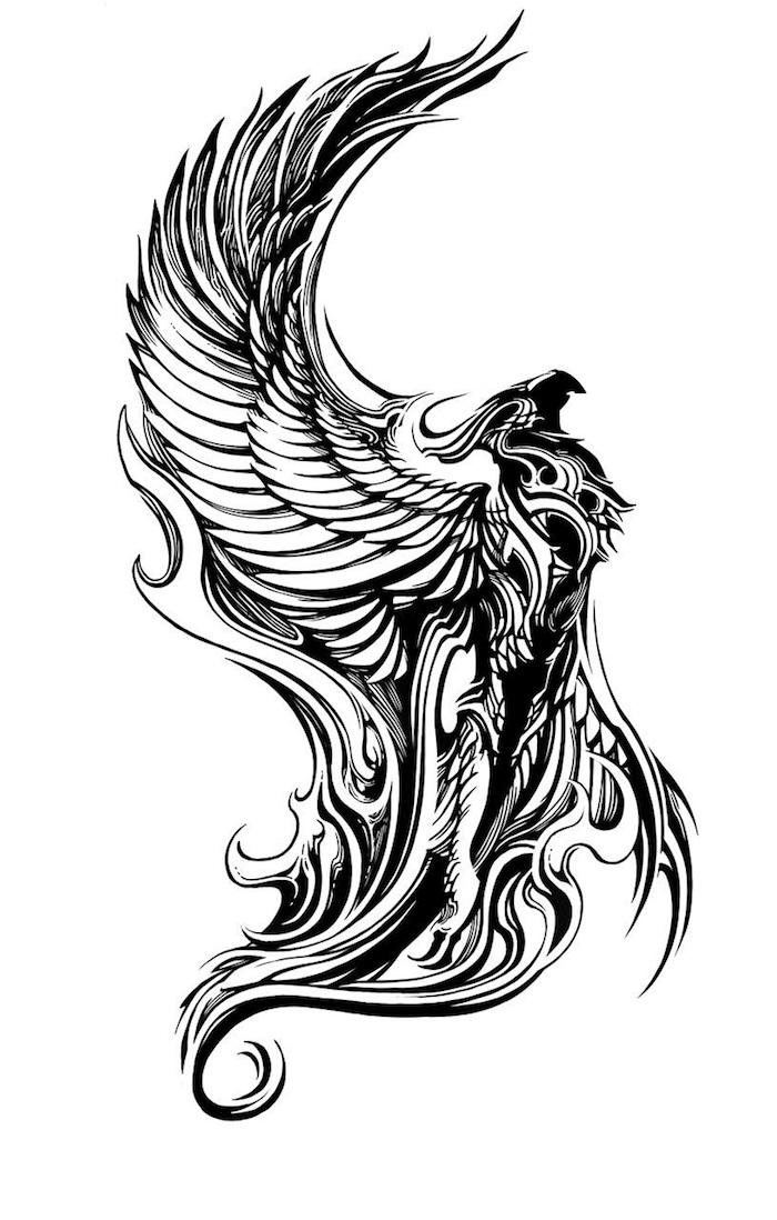 ein großer schwarzer phönix mit großen schwarzen flügeln mit weißen und schwarzen federn - phönix aus der asche tattoo