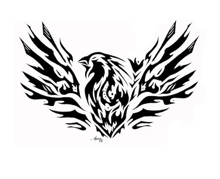 phönix bilder tattoo - ein schwarzer phönix mit schwarzen federn, der aus seiner eigenen asche aufersteht