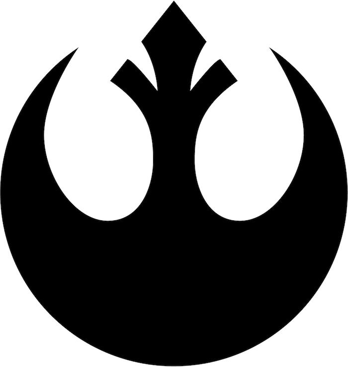 star wars logo mit einem schwarzen fliegenden raumschiff - idee für einen großen schwarzen star wars tattoo