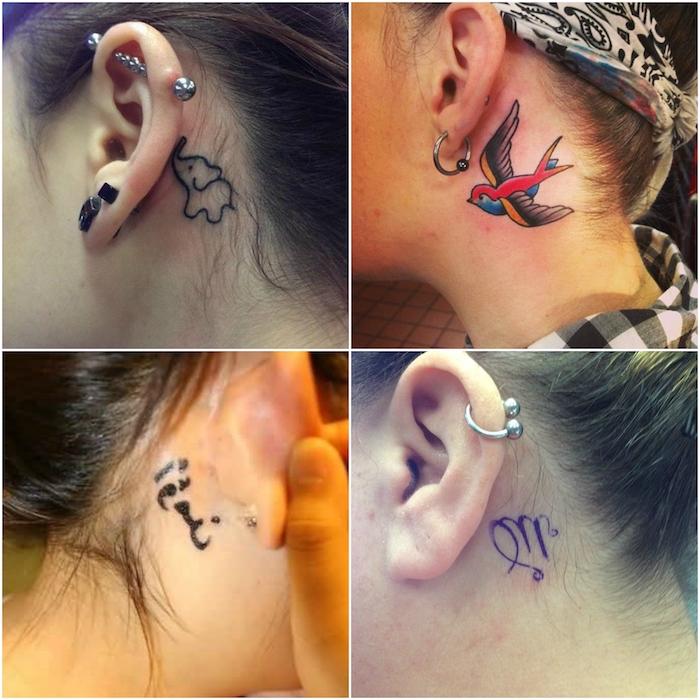 junge frauen mit kleinen tattoos hinterm ohr - mit einem kleinen schwarzen elefant, einem großen roten fliegenden vogel