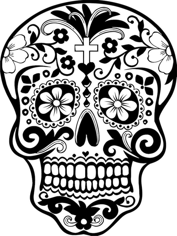 weißer totenkopf mit weißen blumen und schwarzen blättern und weißen zähnen und kerz - ein mexikanischer totenkopf tattoo