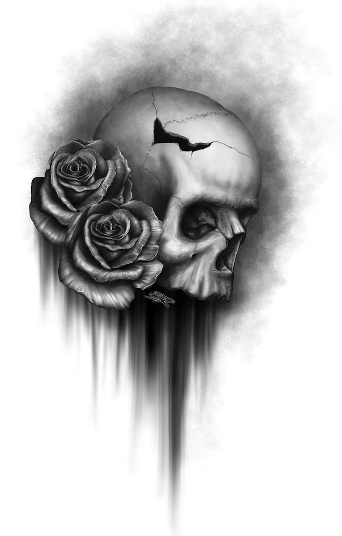großer tattoo mit einem grauen totenkopf mit schwarzen augen - tattoo mit einem totenkopf und zwei großen grauen rosen - totenkopf mit rosen tattoo, mexikanischer totenkopf name