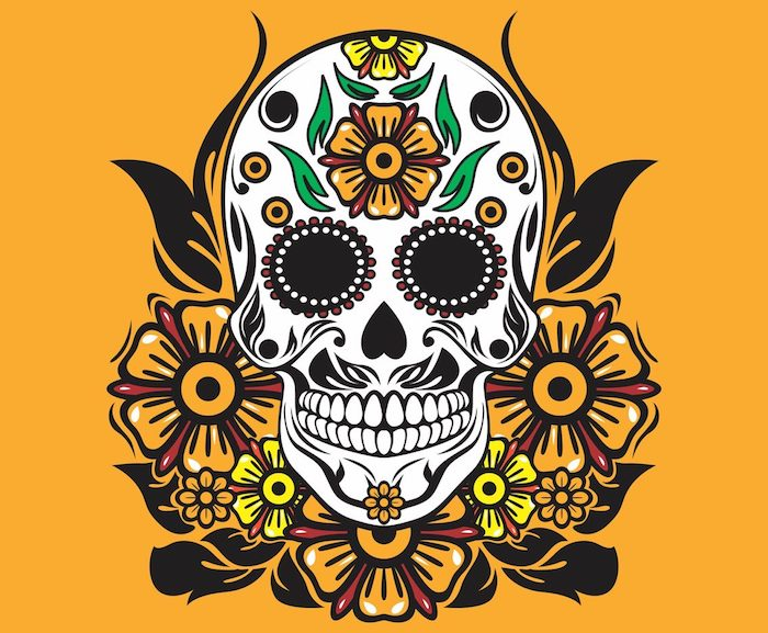 weißer totenkopf mit einem großen gelben blume mit grünen blättern totenkopf und grüne und orange blumen, totenkopf blumen tattoo