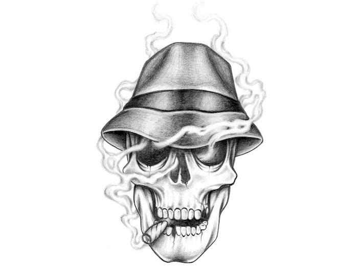 eine skizze mit einem weißen rauchenden totenkopf mit einem hut und einer zigarette
