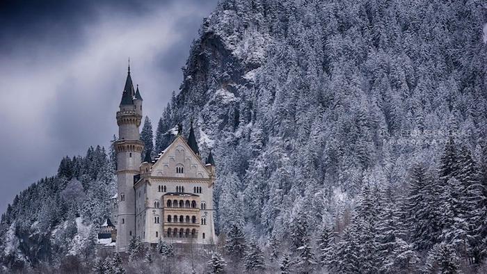ein weißes schloss mit türmen - ein winterwald mit bäumen mit schnee - himmel mit grauen wolken