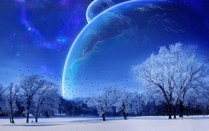 blauer himmel mit kleinen weißen sternen und zwei planeten und fliegenden kleinen schwarzen vögeln - ein winterwald mit bäumen mit schnee